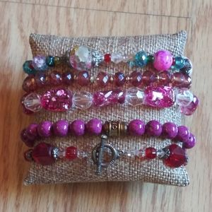 Jewelry - Lot of 5 Pink & Red Stretchy Beaded Bracelets